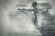 cross with Ashes on canvas