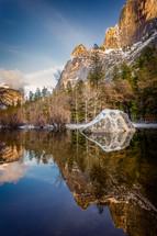 Yosemite mirror lake and snow on cliffs