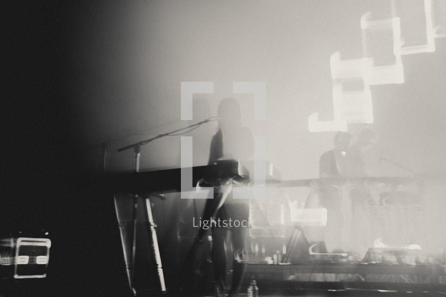 spotlight on a keyboardist
