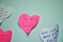 paper heart with the words GOD MADE YOU PERFECT