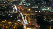 traffic on a Dallas highway at night
