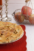 Homemade Apple Pie on a White Wood Table
