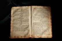 Open worn Bible in the book of John