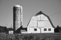Old Barn and Silo in black and white