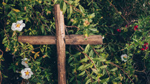 cross in a summer bush