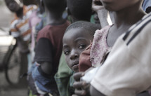 children in a crowd in Africa