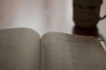A Bible opened to Matthew