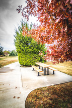 picnic table and sidewalk