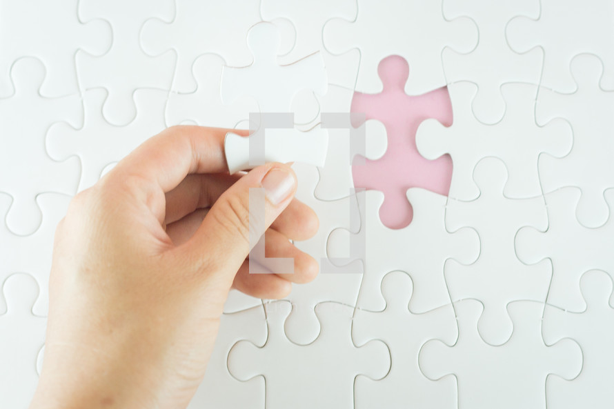 filling in a missing puzzle piece