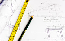 tape measure, blueprints, building project, pencil