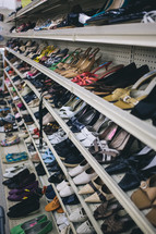 shelves, shoes, store, second hand, thrift store, resale
