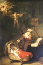 painting of a mother rocking a baby and angels watching over