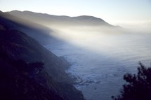 morning fog and a coastline