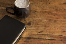 Bible cover and latte