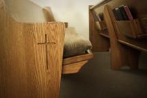 rows of church pews closeup