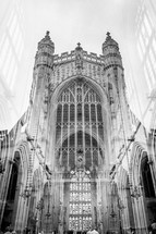 double exposure interior and exterior of a grand cathedral