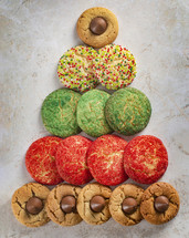 Christmas sugar cookies in the shape of a Christmas tree