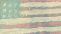 American flag in sidewalk chalk paint
