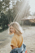 sunbeam shining on a young woman