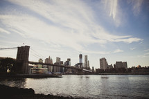 The Brooklyn Bridge and the skyline of Manhattan