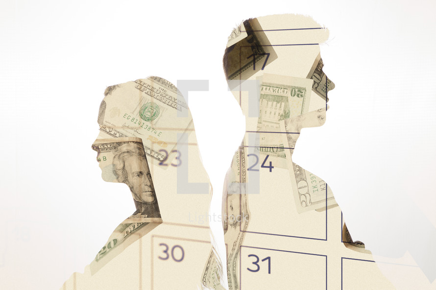 man and woman standing back to back - arguing over money