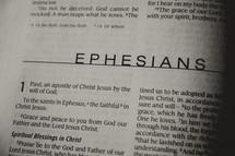Open Bible in book of Ephesians