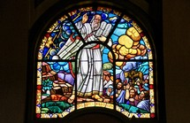 Ten Commandments stained glass window