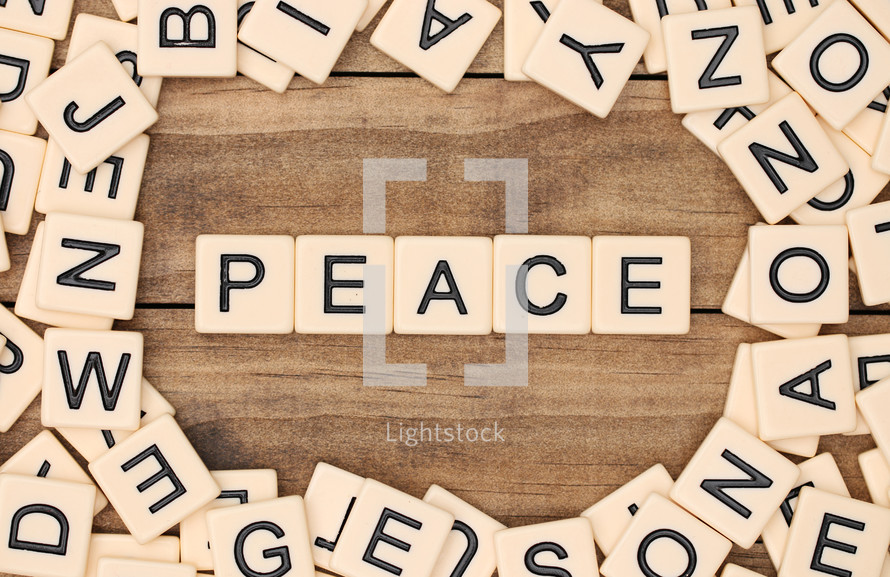 peace in scrabble pieces