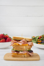 Stacked Ham and Cheese Sandwich with Vegetables