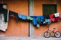clothes on a clothesline