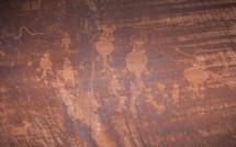 hieroglyphs on red rock