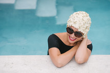 woman in a swim cap