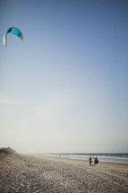 Teenagers flying a kite on the beach