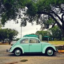 Old blue Volkswagen car