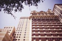 sunlight on city buildings