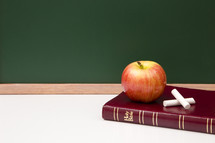 apple, Bible, and chalkboard