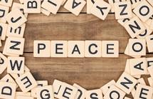 peace in scrabble pieces
