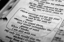 Open Bible in Psalm 139:17