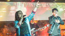 worship leaders singing during a worship service
