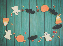 Homemade Halloween cookies background with copy space