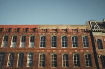 windows on a brick warehouse building