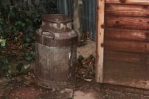 rusty milk jug