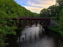 rusty metal train bridge