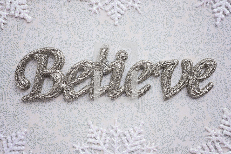 word believe and snowflake border