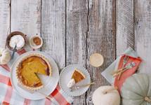 pumpkin pie on a table
