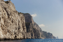 cliffs along a shoreline in Italy
