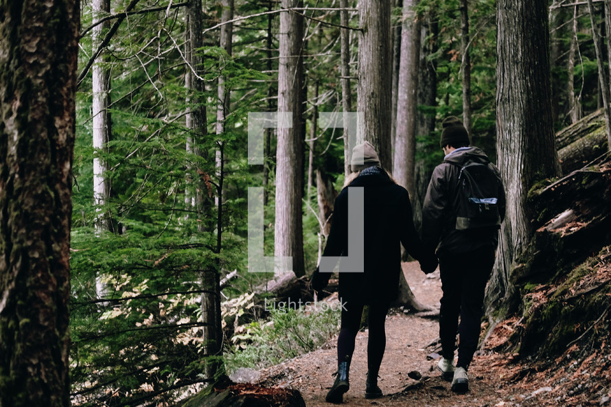 couple walking on a forest path