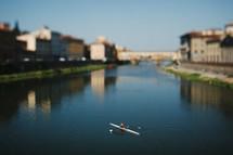 paddling in a kayak