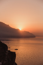 a bay at sunset in Italy
