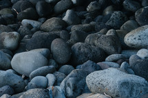 smooth black stones